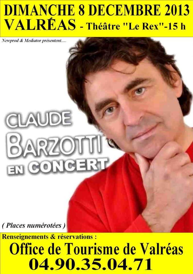 affiche concert Claude Barzotti  de Valréas (84)