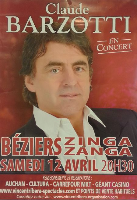 affiche du concert au ZINGA ZANGA de Béziers
