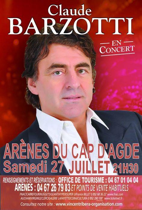 affiche Concert Claude barzotti au Cap d'Agde