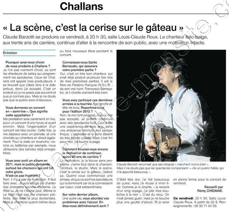 barzotti Challans interview ouest france concert du 10 aout 2012
