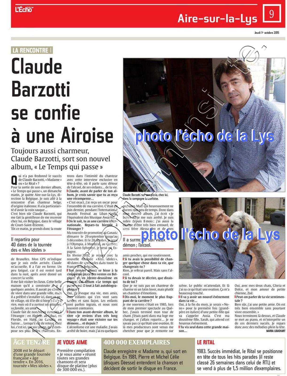 article de presse Claude Barzotti