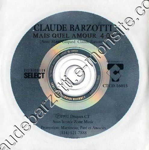 """CD promo Canada """"Mais quel amour"""" 1991 CTCD-16015"""