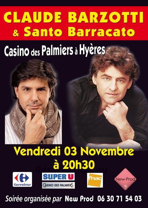 concert au casino de Hyères les palmiers le samedi 3 novembre 2012 à 20h30