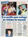 France Dimanche N° de 2000 pages 33 (1 page) Il se sacrifie pour soulager les victimes du tsunami! (Gwilhem a ému Claude Barzotti)