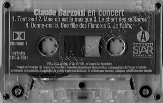 K7 audio live canada volume 1 Face A et Face B Star Records Inc