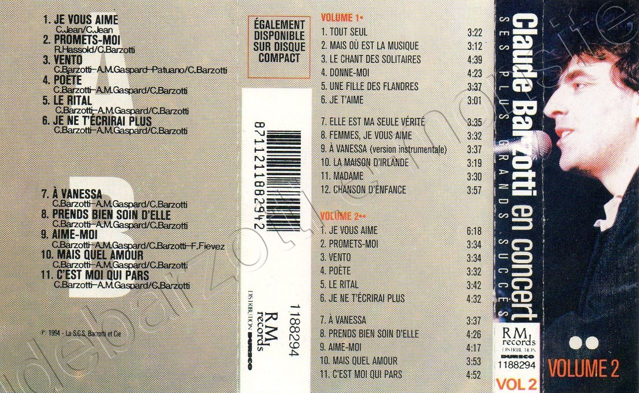 Claude Barzotti en concert volume 2