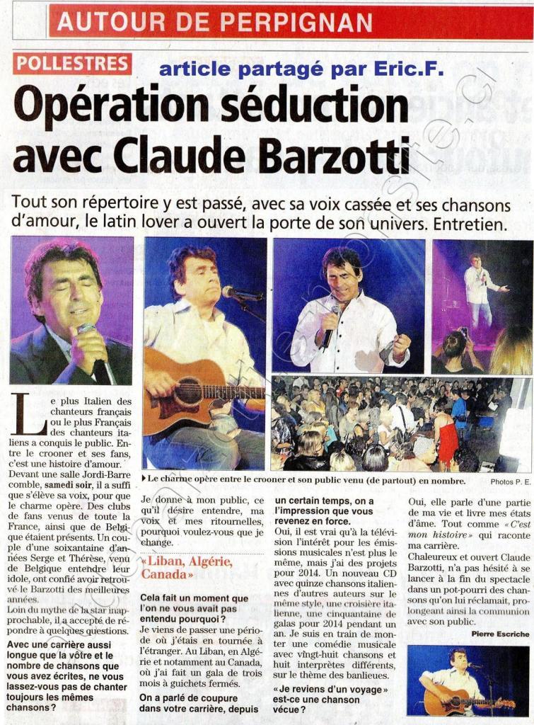 Article de presse L'indépendant concert Claude Barzotti à Pollestres le 21 septembre 2013