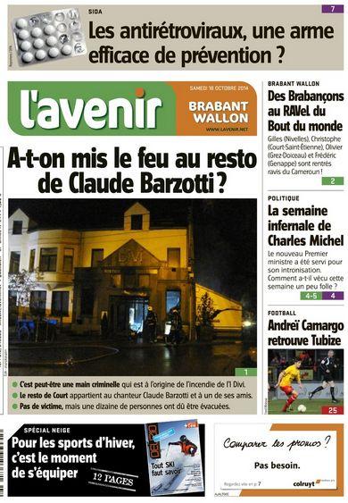 L'Avenir Presse Belgique samedi 18 octobre 2014 (cliquez ICI) son restaurant préféré part en fumée