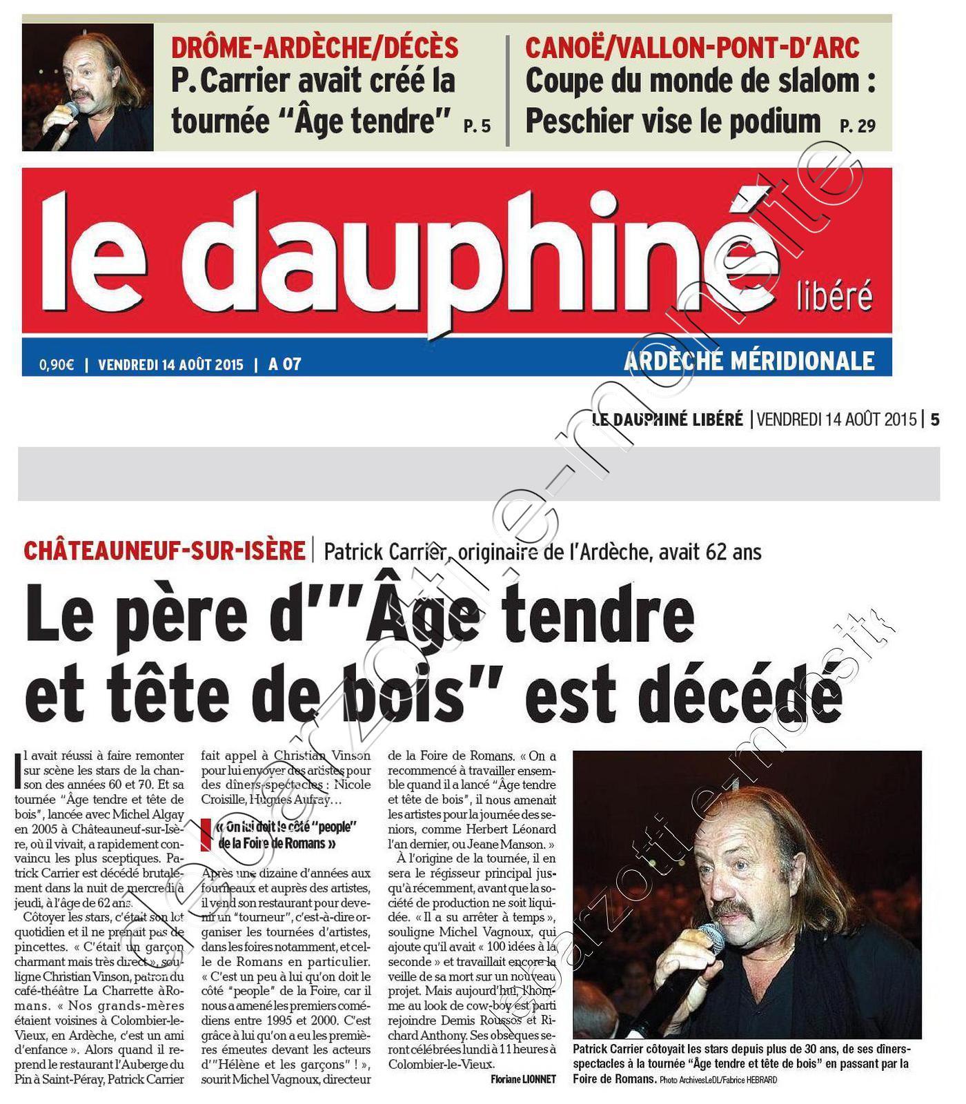 article de presse le dauphiné 14 août 2015