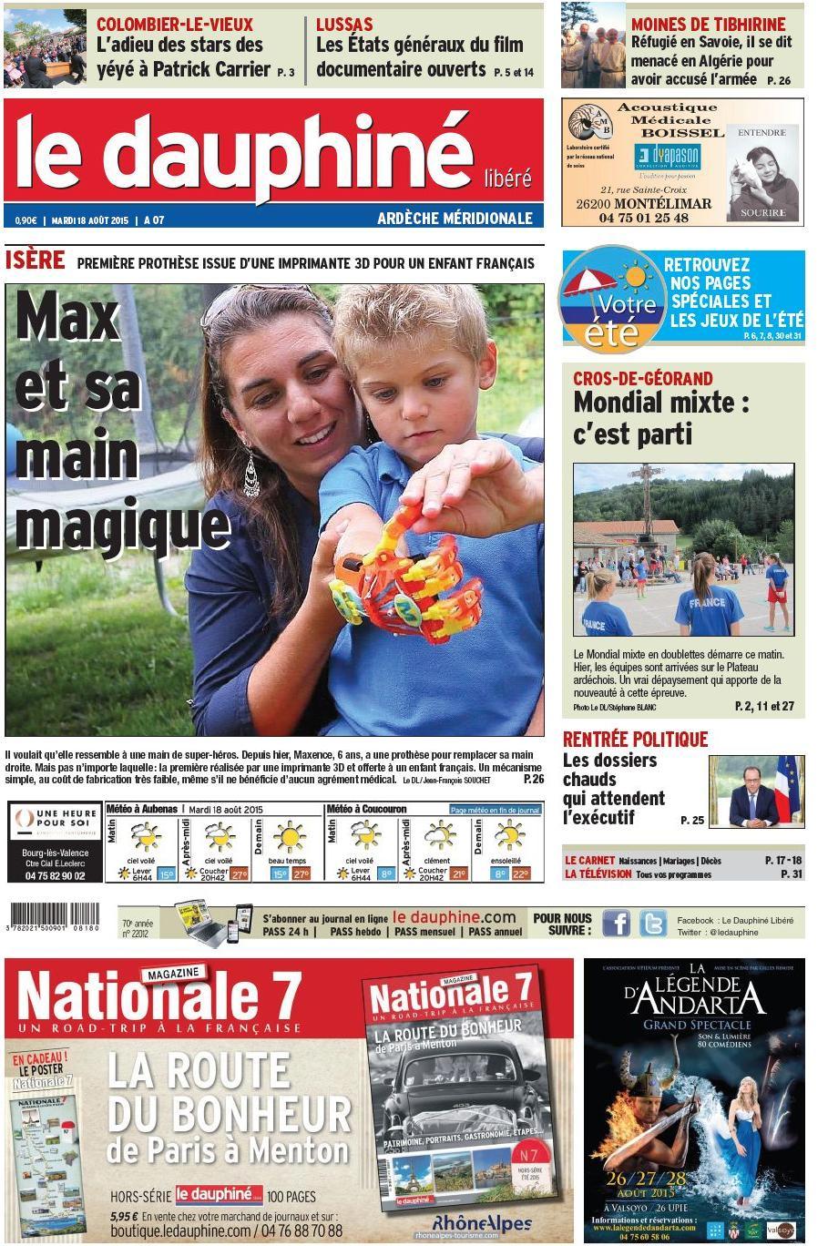 presse le dauphiné mardi 18 août 2015