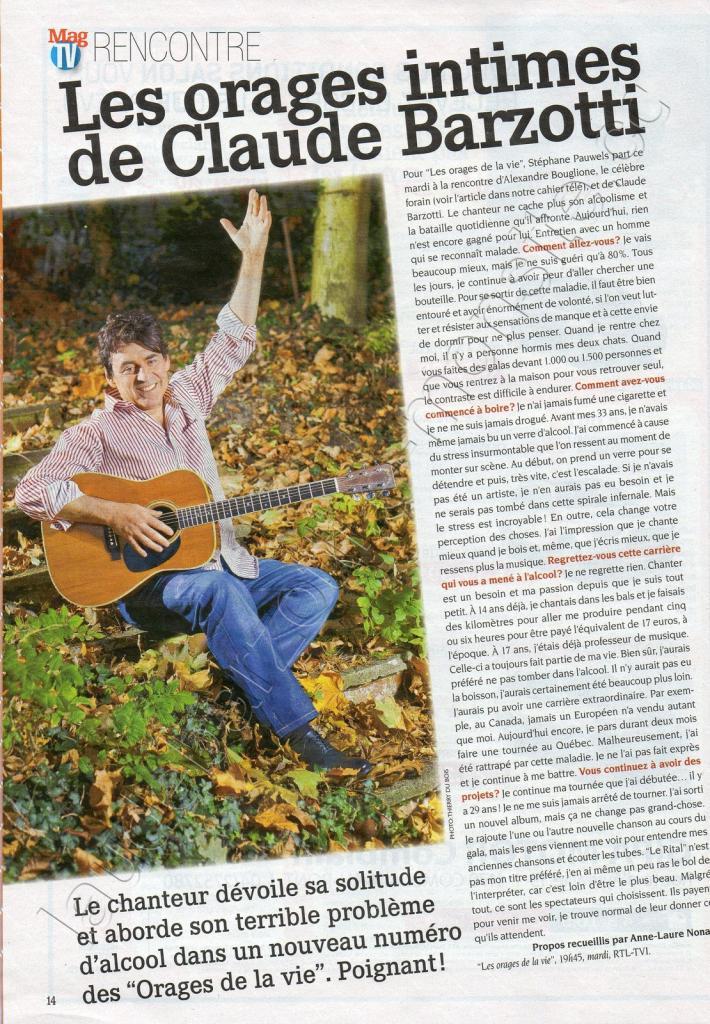 Mag TV rencontre Les orages de la vie Claude BARZOTTI