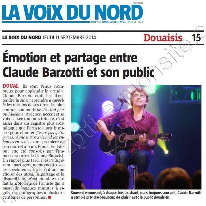 presse Barzotti la voix du Nord jeudi 11 septembre 2014