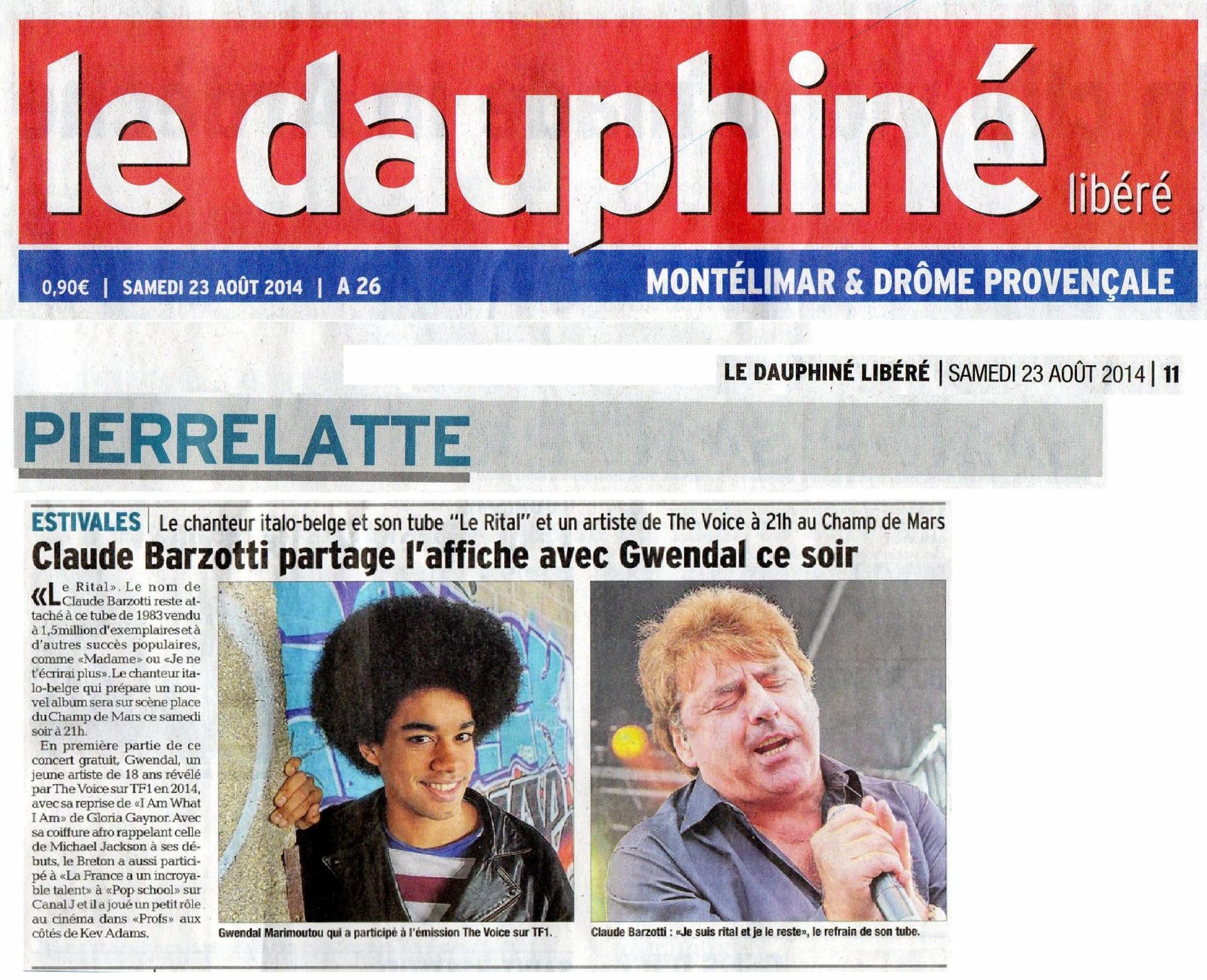 Blog de barzotti83 : Rikounet 83, Claude Barzotti en concert à PIERRELATTES (26) presse