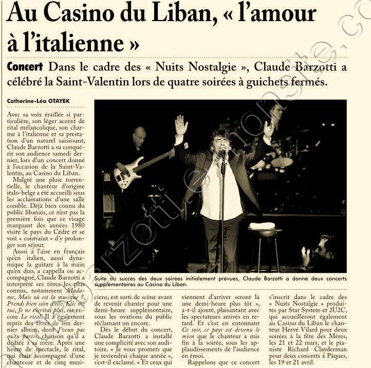 presse Claude barzotti Liban
