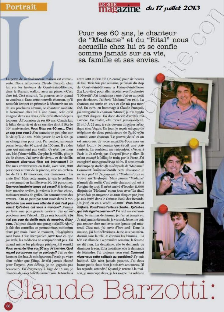 Article de presse Belgique le soir magazine du 17juillet 2013