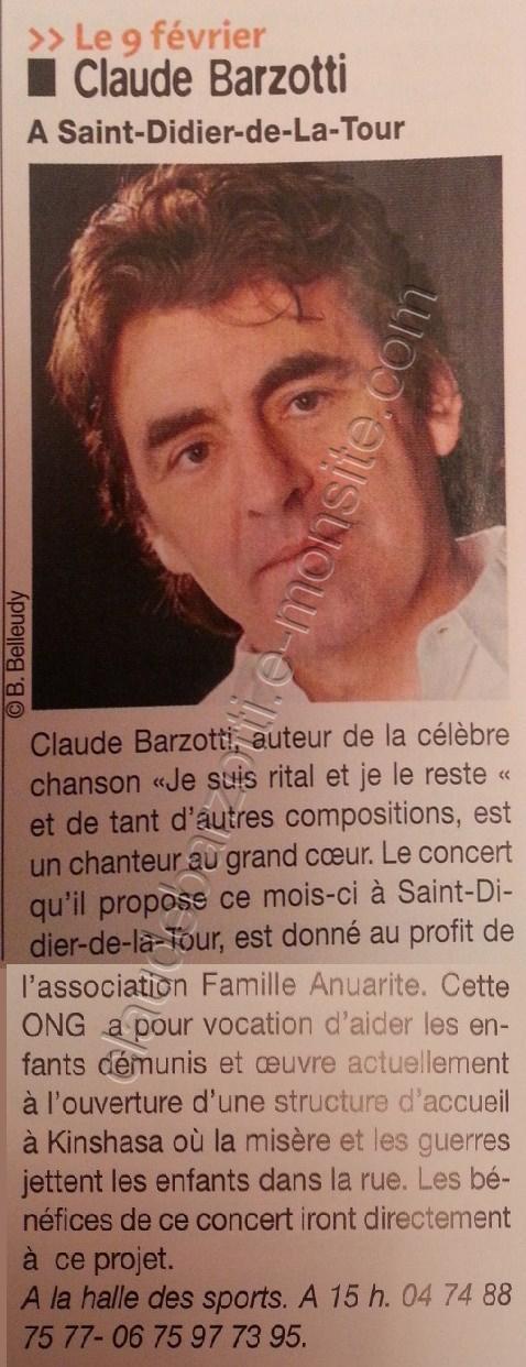 article de presse concert Claude Barzotti St Didier de la Tour