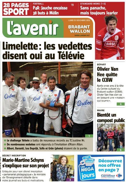 presse L'avenir Télévie (25 novembre 2013)