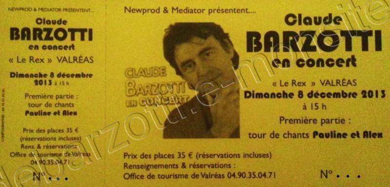 Claude barzotti concert le 8 decembre 2013 15h30 valreas - Office du tourisme valreas ...