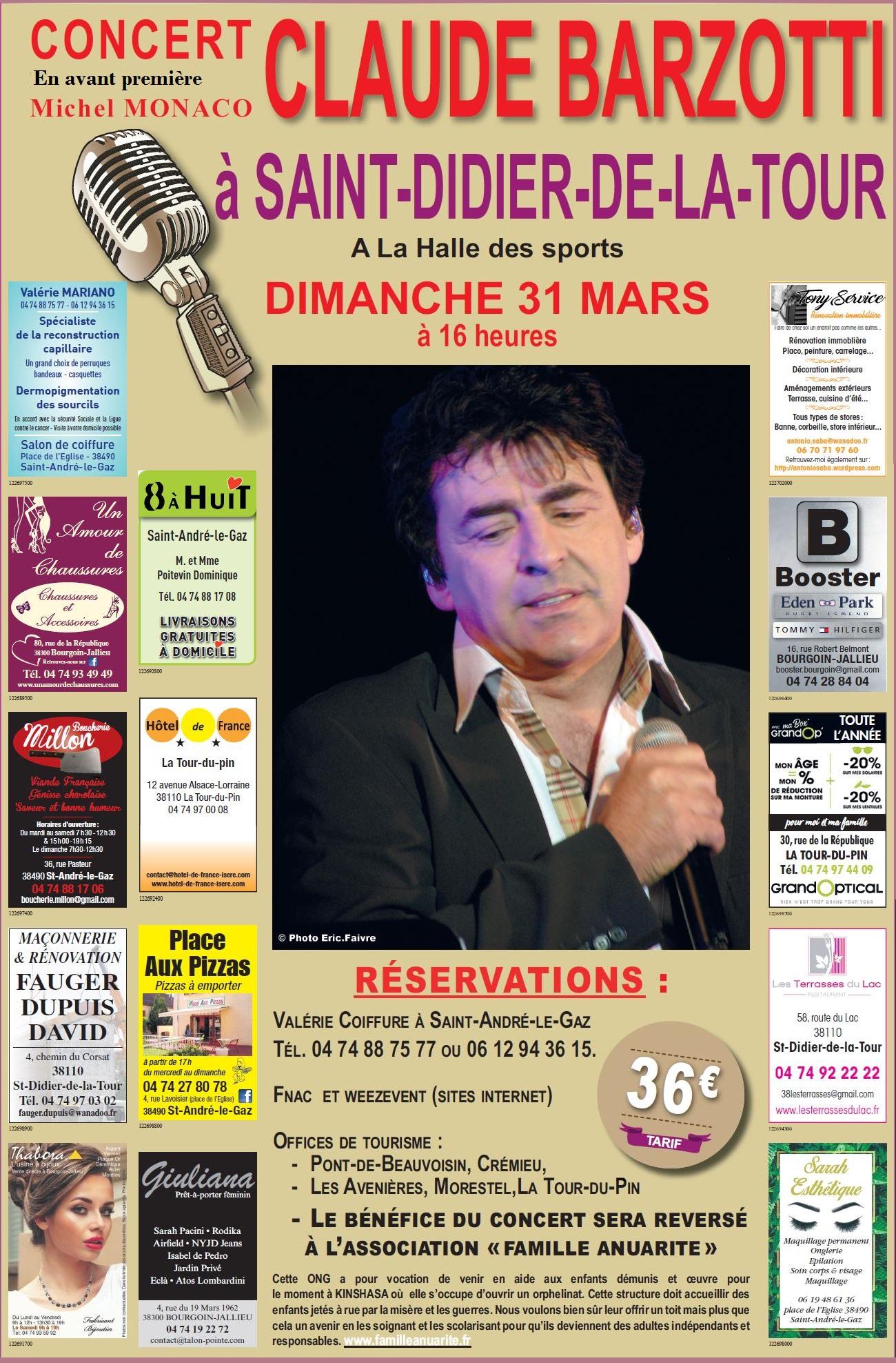 affiche publicitaire concert barzotti 31 mars 2019