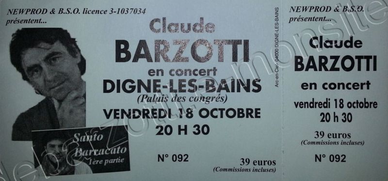 ticket concert Digne les bains vendredi 18 octobre 2013