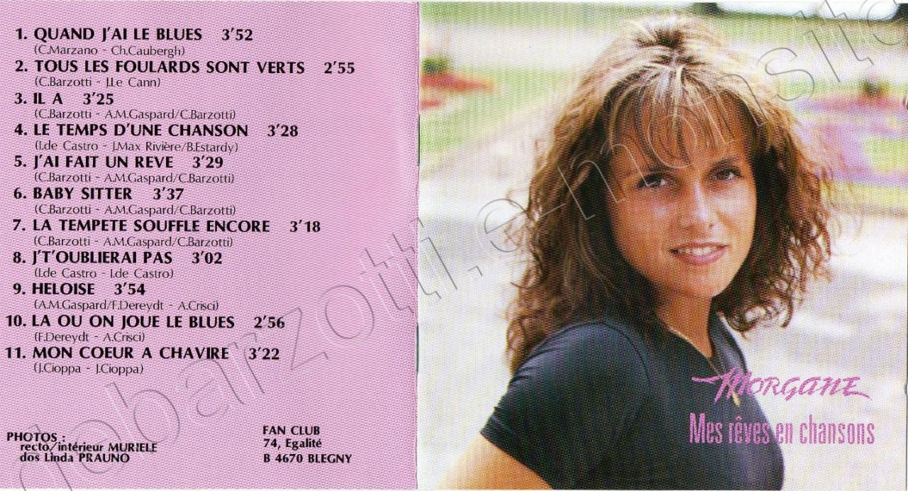"livret CD Morgane ""Mes rêves en chansons"" 1994"